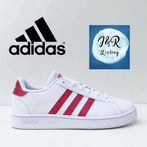adidas GRAND COURT SHOES White/Glitter Pink